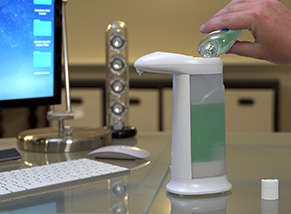 Image of Sonic Soap with Hand Sanitizer being poured in